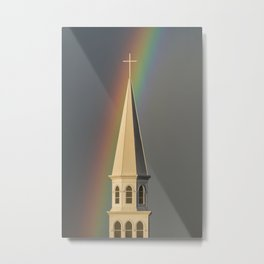 Rainbow & Steeple (Just outside my window) Metal Print