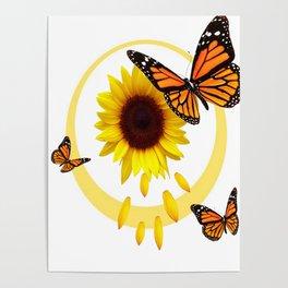 ORANGE MONARCH BUTTERFLIES & SUNFLOWER  PATTERN Poster