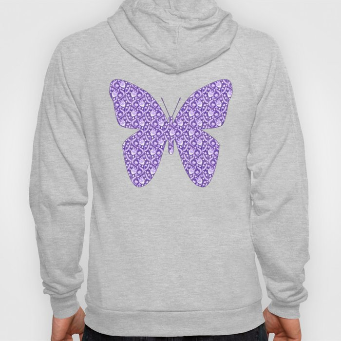 Lilac Lavender Lace Floral, Spring Flower Blossom Pattern Illustration Hoody