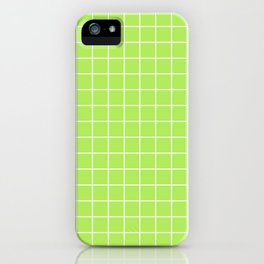 Inchworm - green color - White Lines Grid Pattern iPhone Case
