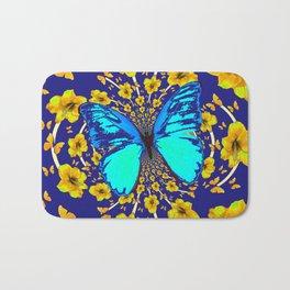 TURQUOISE BLUE YELLOW AMARYLLIS BUTTERFLY ART Bath Mat