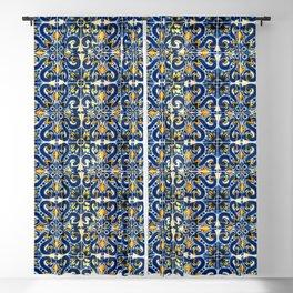 Blue, Yellow and Orange Portuguese Tile  Blackout Curtain