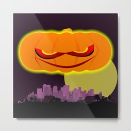 Evil Pumpkin Over The City Metal Print