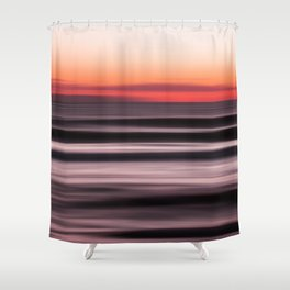 Sunset Shades of Magenta Beach Ocean Seascape Landscape Coastal Fine Art Painting  Shower Curtain