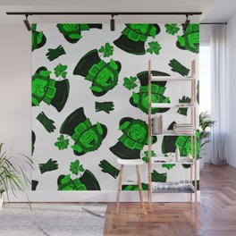 Retro Vintage St Patricks Day Green Leprechaun Wall Mural