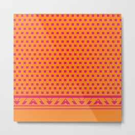 Square Dots Pop | pumpkin orange hot pink Metal Print