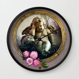 Angel Skull and Roses in a Frame-Death Wall Clock