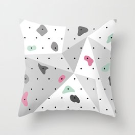 Abstract geometric climbing gym boulders pink mint Throw Pillow