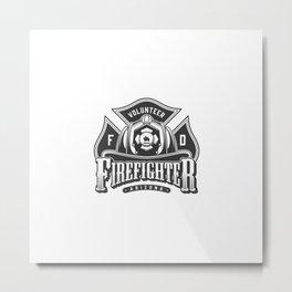Monochrome Firefighting Emblems With Crossbones Firefighter Skull Wearing Helmet Vintage Style Illus Metal Print