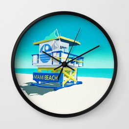 Miami Beach Hut Wall Clock