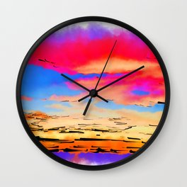 Colorful Abstract Sunset Wall Clock