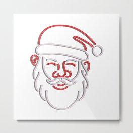 Santa Claus Neon Sign Metal Print