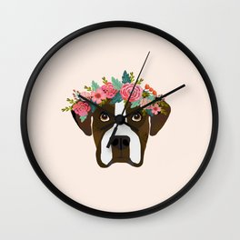 Boxer dog breed floral crown boxers dog lover pure breed gifts Wall Clock