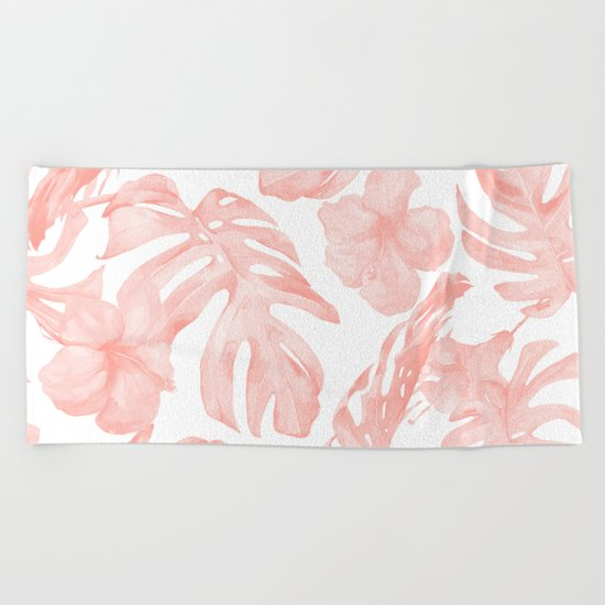 Tropical Palm Leaves Hibiscus Flowers Coral Pink Beach Towel