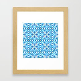 Tangerine and Blue Deco Pattern Framed Art Print