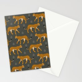 Wild Cheetah Pattern IV - Dark Green Stationery Cards