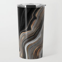 Elegant black marble with gold and copper veins Travel Mug
