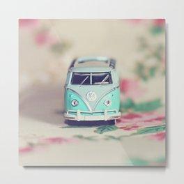 Aqua Bus with Roses Metal Print