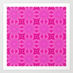 Pink Flowers : Flower Cross Pattern Art Print