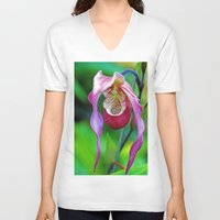 orchid V-neck T-shirts featuring Orchid by Trevor Jolley