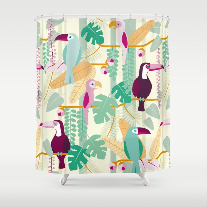 Rainforest Birds Shower Curtain