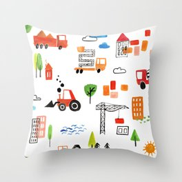 Watercolor Busy City Roads Pattern Throw Pillow