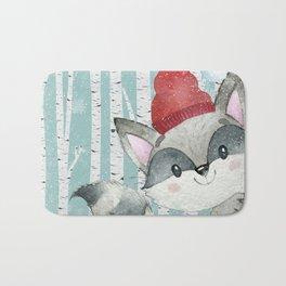 Winter Woodland Friends Cute Racoon Snowy Forest Illustration Bath Mat