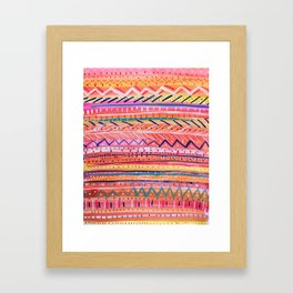 Hand painted Bright Patterned Stripes Framed Art Print