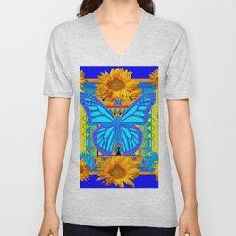 Cobalt Blue Sunflower Butterfly Art Unisex V-Neck