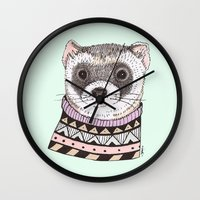 ferret Wall Clocks featuring Hipster Ferret by Indi Maverick
