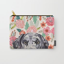 Great Dane florals pet portrait art print and dog gifts Carry-All Pouch