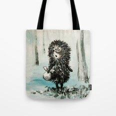 Hedgehog in the fog Tote Bag