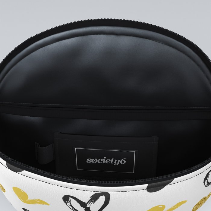 Gold and black hearts pattern Fanny Pack