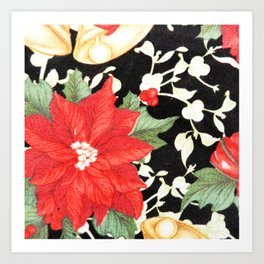 Vintage red green bright christmas floral Art Print