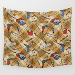 Household Tools Plaid Wall Tapestry