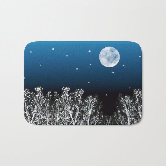 White Woods Moon Bath Mat