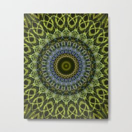 Olive and blue tones mandala Metal Print