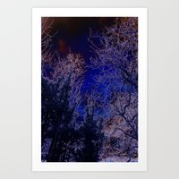 psychadelic Art Prints featuring Psychadelic trees frame the moon by Cheryl - DevilBear Photography