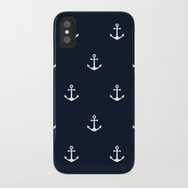 Dark Blue Anchor Pattern iPhone Case