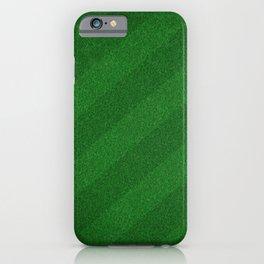 Football, Soccer field stadium, Green grass stripes background  iPhone Case