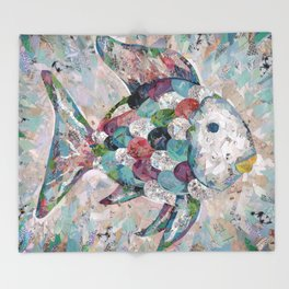Rainbow Fish Collage Throw Blanket