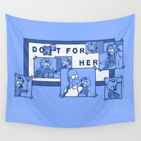simpsons Wall Tapestries featuring Do It For Her (Simpsons) by Manfred Maroto