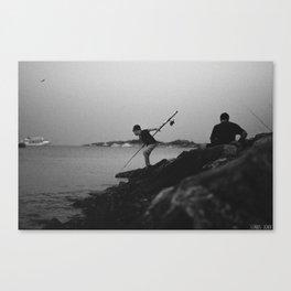 Fishing lesson Canvas Print