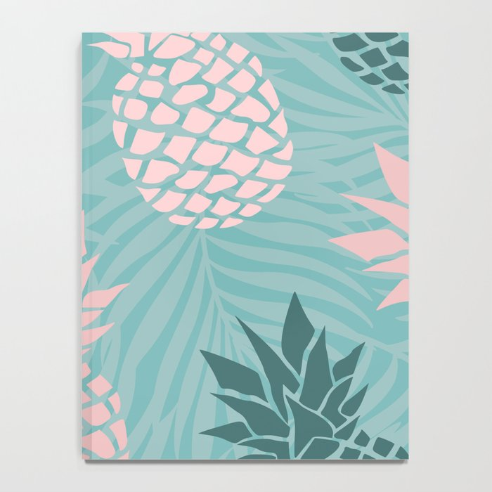 Tropical Pineapple and Palm Leaf Pattern, Teal and Pink Notebook