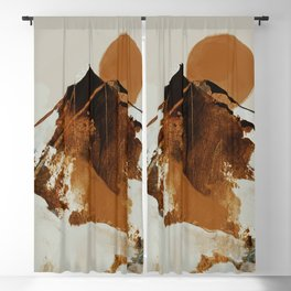 abstract mountains, rustic orange sunrise Blackout Curtain