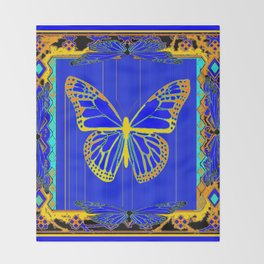 Lapis Blue & Gold Monarch Western Art design Throw Blanket