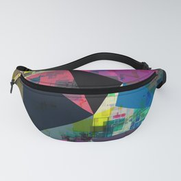 psychedelic geometric triangle pattern abstract with painting abstract background in pink blue yello Fanny Pack