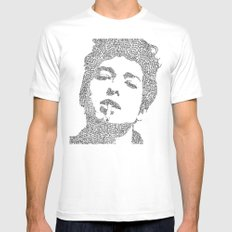 Bob Dylan White Mens Fitted Tee LARGE