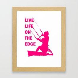 Live Life On The Edge Neon Pink Kitebeach Framed Art Print