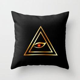 All Seeing Eye of illuminati in gold Throw Pillow